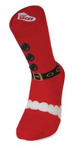 BLUW FESTIVE PRINT NOVELTY CHRISTMAS SANTA SUIT WITH BUTTONS & BELT XMAS SILLY SLIPPER SOCKS