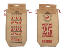 Christmas Corner Canvas Look Wine / Beer Bottle Gift Bag 2 Pack