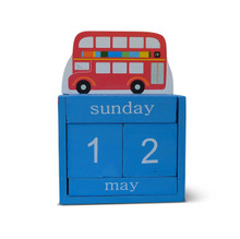 Keep track of the days with the Big Red Bus Block Calendar. Perfect for your children to learn the days and months of the year by turning the blocks!  Ideal decoration for placing on your children's windowsill or shelves!   Great for children's bedrooms!  Material- Wood