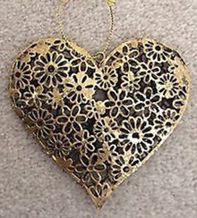 Gold Daisy Hanging Heart Decoration