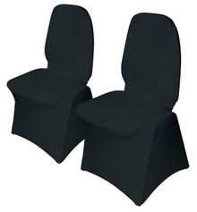 Henbrandt Pack of 2 Black Chair Covers Wedding / Party