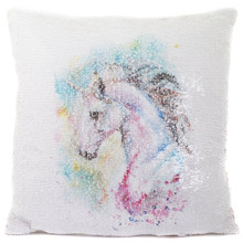 Unicorn Glitter Sequin Cushion - Filled Cushion Pillow