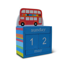 Sass & Belle Big Red Bus Wooden Perpetual Block Calendar Children Decoration
