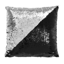 Silver/ Black Sequin Cushion Reversible Design Home Decoration