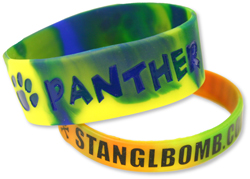 PW-604 Swirled Style Multi-Colored Silicone Wristbands