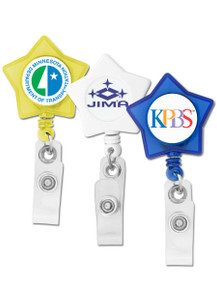 Star Badge Reel w/ Swivel Clip - Full Color Print