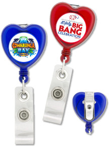 Heart-Shaped Badge Reel w/ Swivel Clip - Full Color Print