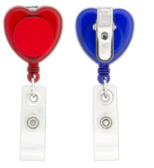 Plain Heart Shaped Badge Reel with PVC Strap & Swivel Alligator Clip
