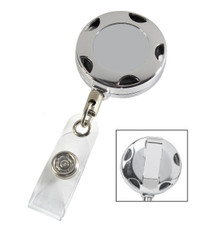 Plain Chrome Metal Sport Retractable Badge Reel with PVC Strap & Belt Clip