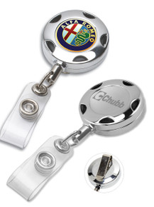 Custom Chrome Metal Sport Badge Reel with PVC Strap