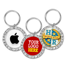 Custom Rhinestone Round Keychains