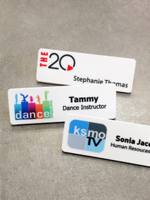 "Full Color Plastic Name Tags with Personalization (1""x3"")"