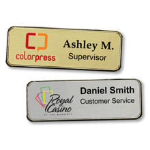 "Name Tags - Executive Metal Frame w/ Personalization (1""x3"")"