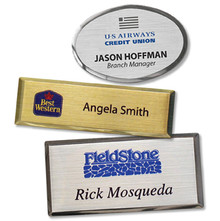 "Name Tags - Executive Metal w/ Personalization (1.5""x2.5 "", oval)"