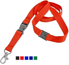 """5/8"""" Wide Flat Lanyard with Safety Breakaway & Release Buckle"""