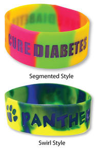 "1"" Multi-Color Custom Silicone Wristbands"