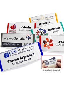 "Curved Reusable Frame Name Tag w/ Logo Print & Personalization (1-1/4""X3"")"