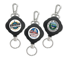Premium Diamond Shaped Retractable Reel with Hook and Ring - Full Color Printed