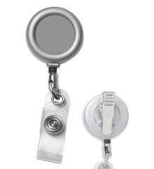 Matte Metal Retractable Badge Reel with Clip, Plain