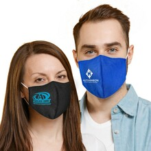 Form Fitted Cupped Cotton Face Mask with Pocket for Filter Insert - w/ Logo Print