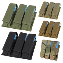 Condor MA52 MOLLE Tactical Triple Pistol Magazine Pouch- OD Green/ Black/ Coyote Brown/ MultiCam