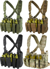 Condor MCR5 MOLLE 5.56 .223 Mag Pouch Rapid Assault Chest Rig Vest- OD Green/ Black/ Coyote Brown
