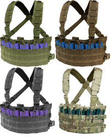 Condor MCR6 Rapid Assault Chest Rig Vest MOLLE 5.56 .223 Mag Pouch- OD Green/ Black/ Coyote Brown