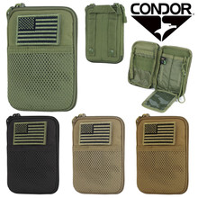 Condor MA16 MOLLE Passport ID Wallet Phone Pocket Pouch w/ USA Flag- OD Green/ Black/ Coyote Brown