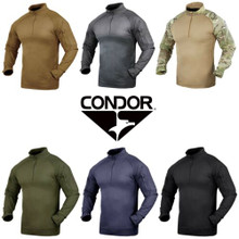 Condor 101065 Moisture Breathable Tactical 1/4 Zip Combat Shirt- OD Green/ Black/ Tan/ Navy Blue/ Graphite