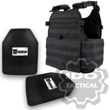 "Condor MOPC Molle Operator Plate Carrier (Black) + Pair of AR500 Armor® Level III 10"" x 12"" Curved ASC plates"