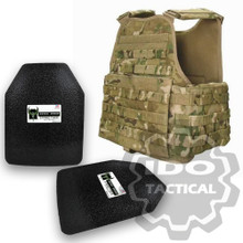 "Condor MOPC Molle Operator Plate Carrier (Multicam) + Pair of AR500 Armor® Level III 10"" x 12"" Curved ASC plates"