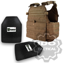 "Condor MOPC Molle Operator Plate Carrier (Coyote Brown) + Pair of AR500 Armor® Level III 10"" x 12"" Curved ASC plates"