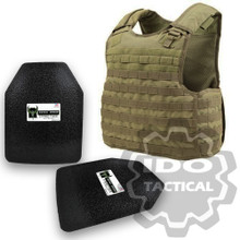 "Condor Quick Release Plate Carrier (Tan) + Pair of AR500 Armor® Level III 10"" x 12"" Curved ASC plates"