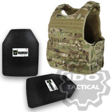 "Condor Quick Release Plate Carrier (Multicam) + Pair of AR500 Armor® Level III 10"" x 12"" Curved ASC plates"