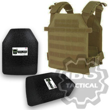 "Condor Sentry Plate Carrier (Tan) + Pair of AR500 Armor® Level III 10"" x 12"" Curved ASC plates"
