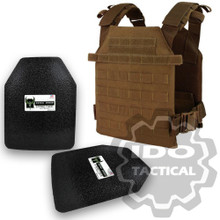"Condor Sentry Plate Carrier (Coyote Brown) + Pair of AR500 Armor® Level III 10"" x 12"" Curved ASC plates"