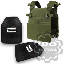 "Condor Vanquish Plate Carrier (OD Green) + Pair of AR500 Armor® Level III 10"" x 12"" Curved ASC plates"