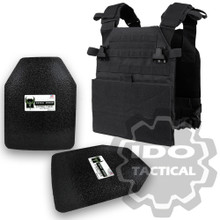 "Condor Vanquish Plate Carrier (Black) + Pair of AR500 Armor® Level III 10"" x 12"" Curved ASC plates"