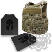 Condor Defender Plate Carrier (Multicam) + Pair of Spartan Armor Systems AR500 Omega 10x12 Armor Plate (Shooters Cut)