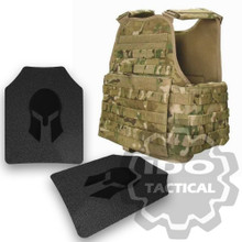 Condor MOPC Molle Operator Plate Carrier (Multicam) + Pair of Spartan Armor Systems AR500 Omega 10x12 Armor Plate (Shooters Cut)