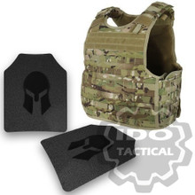 Condor Quick Release Plate Carrier (Multicam) + Pair of Spartan Armor Systems AR500 Omega 10x12 Armor Plate (Shooters Cut)