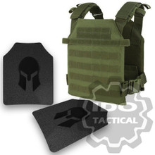 Condor Sentry Plate Carrier (OD Green) + Pair of Spartan Armor Systems AR500 Omega 10x12 Armor Plate (Shooters Cut)