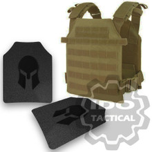 Condor Sentry Plate Carrier (Tan) + Pair of Spartan Armor Systems AR500 Omega 10x12 Armor Plate (Shooters Cut)