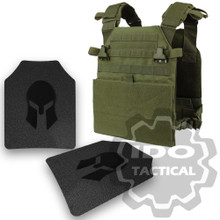 Condor Vanquish Plate Carrier (OD Green) +  Pair of Spartan Armor Systems AR500 Omega 10x12 Armor Plate (Shooters Cut)