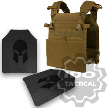 Condor Vanquish Plate Carrier (Coyote Brown) +  Pair of Spartan Armor Systems AR500 Omega 10x12 Armor Plate (Shooters Cut)