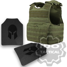 Condor XPCL EXO Molle Infantry Operator Plate Carrier (OD Green) + Pair of Spartan Armor Systems AR500 Omega 10x12 Armor Plate (Shooters Cut)