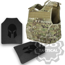 Condor 201165-008-L EXO Molle Infantry Operator Plate Carrier (Multicam) + Pair of Spartan Armor Systems AR500 Omega 10x12 Armor Plate (Shooters Cut)