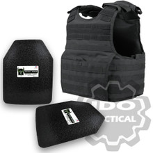 "Condor XPCL EXO Molle Infantry Operator Plate Carrier (Black) + Pair of AR500 Armor® Level III 10"" x 12"" Curved ASC plates"