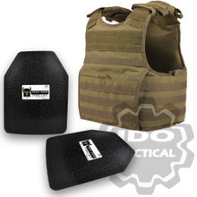 "Condor XPCL EXO Molle Infantry Operator Plate Carrier (Tan) + Pair of AR500 Armor® Level III 10"" x 12"" Curved ASC plates"