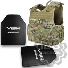 "Condor 201165-008-L EXO Molle Infantry Operator Plate Carrier (Multicam) + VISM Hard Ballistic Armor Panel Level III (UHMWPE) 10""X12"" Shooters Cut / Single Curve"